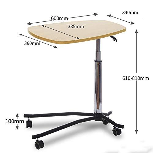 FEI Laptop Desk guéridon mobile projecteur Support Overbed Table hauteur portable réglable pour Table Lit Bureau (Couleur : White oak)