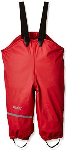 CareTec Kinder wasserdichte Regenlatzhose mit Fleecefutter (verschiedene Farben), Rot (Red), 80