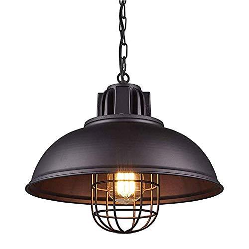 Huahan Haituo Vintage Metall industrielle Kronleuchter, industrielle Retro-Anhänger Licht breite Deckenbeleuchtung Kronleuchter 1-Licht mit Kette (42cm, schwarz)