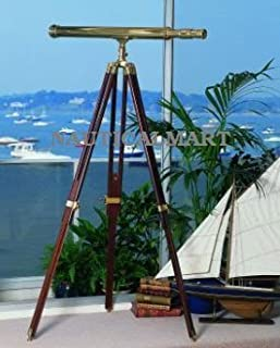 Handcrafted Floor Standing Harbor Master Brass Telescope with Tripod Stand by Nauticalmart