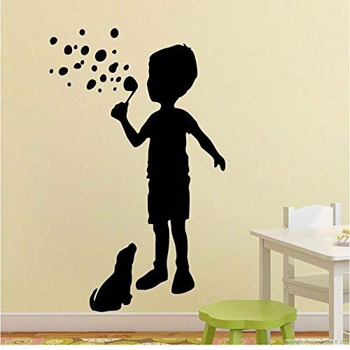 Xxscz kind en hond muur sticker jongen blazen bubbels muurschildering kunst kinderen slaapkamer kinderkamer spelen Zone interieur Decor Vinyl Sticker 74X118Cm
