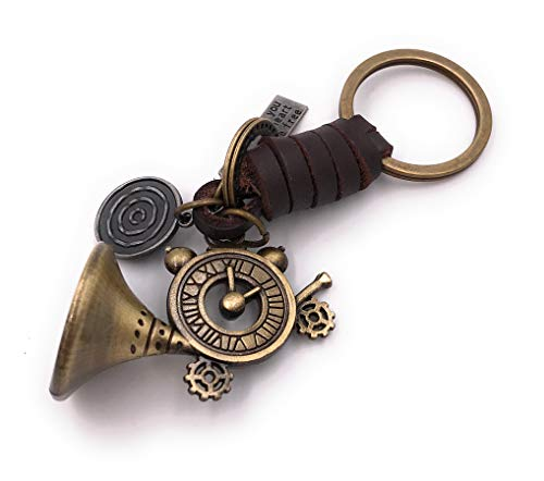 Onwomania Sleutelhanger Trompet klok nummer wiel goud leer Charm Chain Sleutelhanger Ring