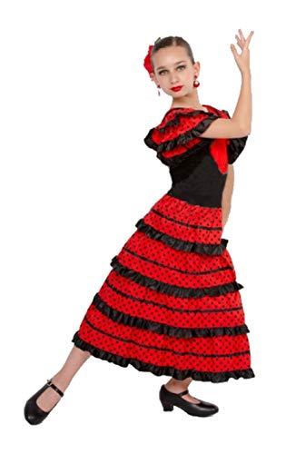 Vestido Sevillanas Niña con Accesorios Flamenca Peineta Collar Pulsera Pendientes Negro【Tallas Infantiles de 1 a 15 años】[5-6 años] Disfraz Sevillana Traje Flamenca Volantes Feria Abril Sevilla Baile