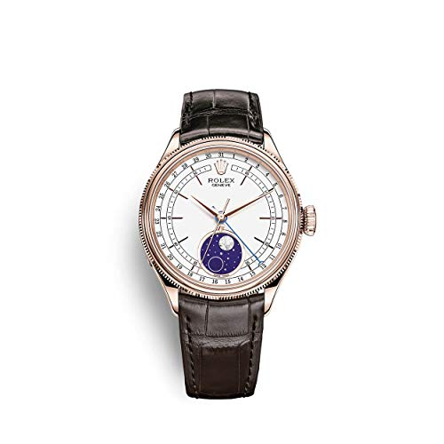 Rolex Cellini Moonphase Everose Gold/Tobacco Leather Bracelet / 50535-0002 / White Dial