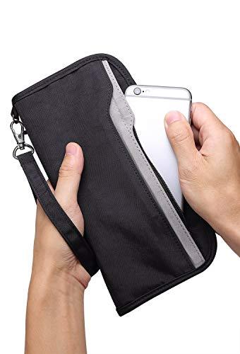 Zoppen RFID Travel Passport Wallet & Documents Organizer Zipper Case with Removable Wristlet Strap, Black