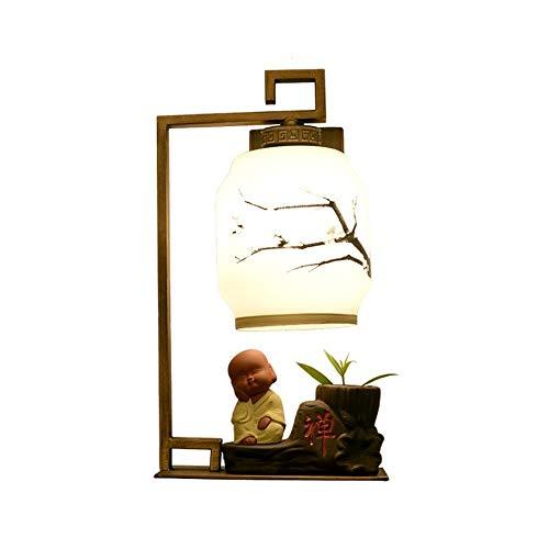ZZYJYALG Retro Creativo Hierro forjado Villano Tallado Vidrio Pintura Lámpara de pared Dormitorio chino Lámpara de noche Salón Luz de pared LED Pasillo Pasillo Decoración Lámpara Lámpara Casa de té R
