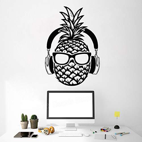 jiushivr Creative Pine DJ Vinilo Tatuajes de Pared Auriculares Gafas de Sol Decoración para Adolescentes Pegatinas Mural Decoración para el hogar Dormitorio Sala de Juegos 56X81 cm