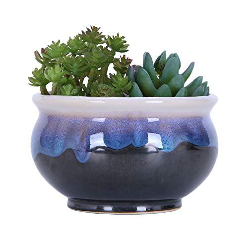 VanEnjoy Large Ceramic Succulent Pot, Multicolor Colorful Flowing Glazed, Indoor Home Décor Cactus Flower Bonsai Pot Planter Container, Candle Holder Ring Bowl