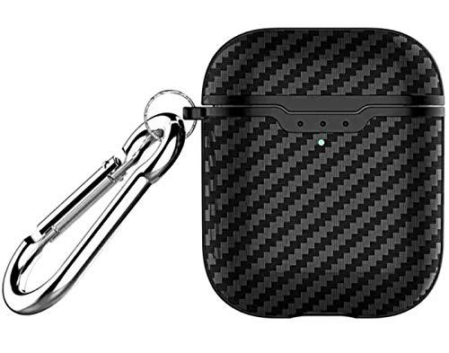 HAFEID Schutzhülle passend für Original Apple Airpods Generation 1 und 2 - Air Pods case aus Silikon - Airpod Hülle - Earpods mit Karabiner - Tasche für Air Pod Kopfhörer (Carbon Schwarz)