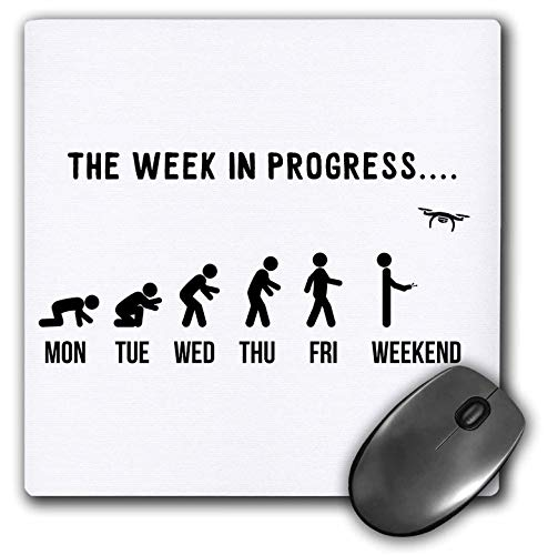 3dRose Mouse Pad Drone Weekend The Week in Progress Evolution FPV Pilot Quadcopter - 8 by 8-Inches (mp_316059_1)
