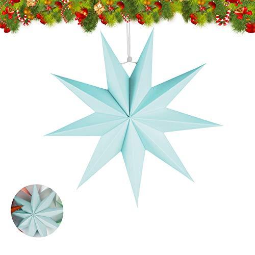 Papier Stern Dekoration,30 cm Hänge-Deko aus Papier,faltsterne weihnachten,3D Sterne Form für Weihnachten,Sterne Form Papier,Papierstern Weihnachtsdeko,Weihnachtstern Papier Dekor(Blau,1 set)