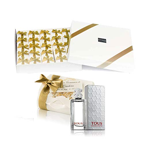 Pack 25 mini perfumes de mujer como detalles de Primera Comunión para invitados Tous Eau de toilette 4,5 ml. original en baul comunion y tarjeta personalizada