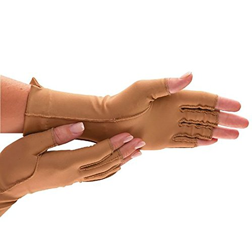 isotoner Therapeutic Compression Gloves, Camel, Small