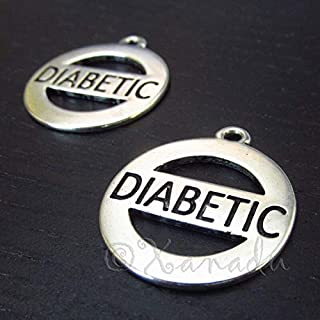 20 Pc Diabetic Charms 28mm Antiqued Silver Plated Pendants - Jewelry Making Supply by Charm Crazy