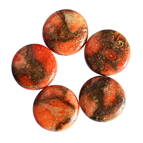 Natural 9 x 9 x 2 mm naranja cobre turquesa cabujón redondo parte trasera plana Turquesa, lote 5 piezas, piedra preciosa, piedra suelta, 24106