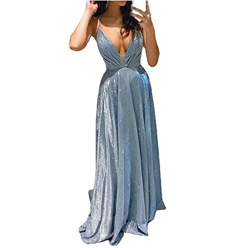 StarneA Vestido largo para mujer, elegante, vestido de boda, sexy, sin mangas,...
