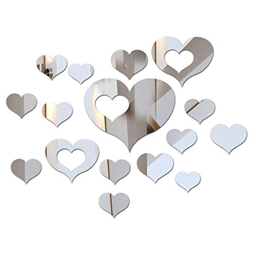 HFSYYM6 Wall Décor 3D Mirror Wall Stickers, 1 Set (15Pcs) Acrylic Heart Shaped Wall Sticker Removable DIY Wall Poster Décor For Home Living Room (Color : A)