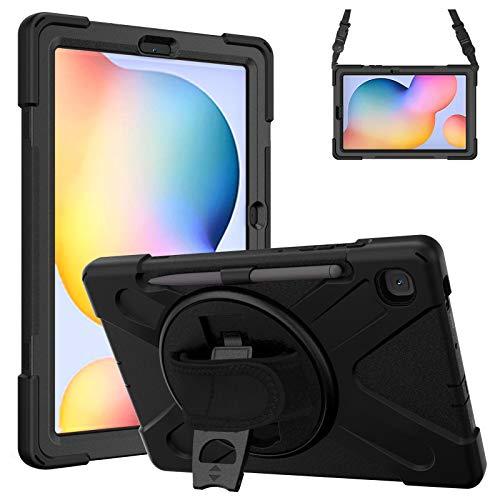 Gerutek Custodia per Samsung Galaxy Tab S6 Lite da 10,4, con portamatite P610/P615 Custodia Resistente, Custodia Protettiva per cavalletto/Mano/Tracolla per Custodia per Tablet Galaxy S6 Lite,Nero