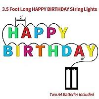 JGWDJ ハッピーバースデーライト - 屋内、家庭、ハウス、クリスマス照明、誕生日(マルチカラー)のための13 LEDレターバッテリー動作文字列ライト6フィートの誕生日パーティーインテリア用品