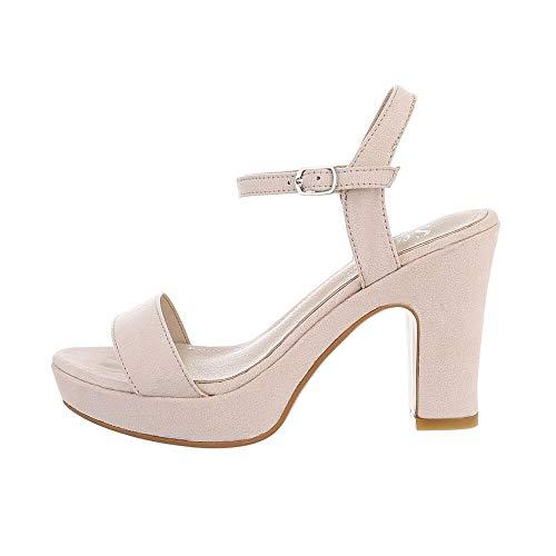 Ital-Design Damenschuhe Sandalen & Sandaletten High Heel Sandaletten, NS032-, Kunstleder, Beige, Gr. 36