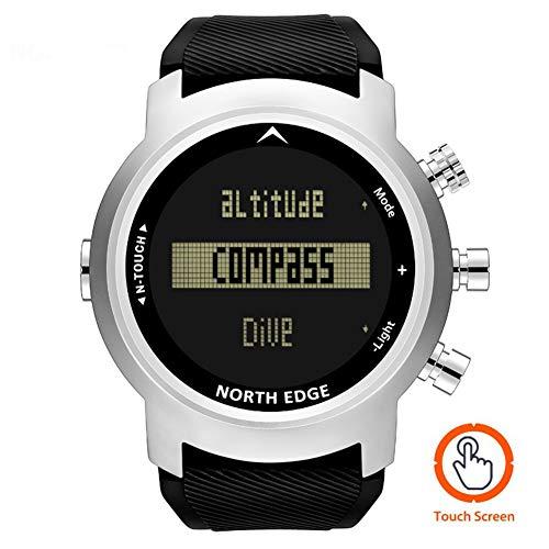 North Edge N-Touch 2019 Nuevo Reloj de Buceo para Hombre Reloj Militar LED Digital Relojes Deportivos a Prueba de Agua para natación con Buceo 50M Reloj de Pulsera Brújula de altímetro