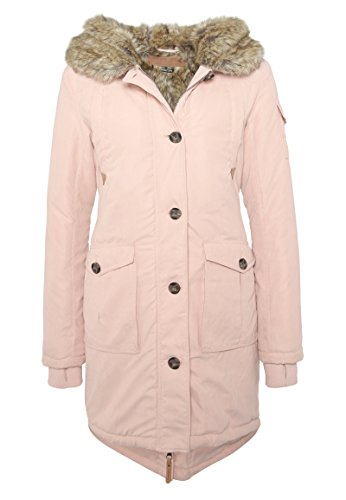 Eight2Nine Damen Parka mit Kunstfell I Warme Winterjacke mit Kapuze in Rosé, Schwarz & Grün Rose L