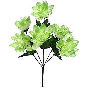 1 Bouquet of 6 Dahlia Wedding Bouquet Fake Faux Artificial Silk Flowers Sage Green