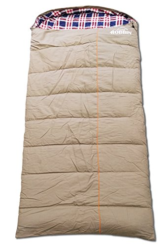 crossROBBIN 0 Degree Sleeping Bag, Canvas and Removable Flannel, Left & Right, XXL (Left Zip)