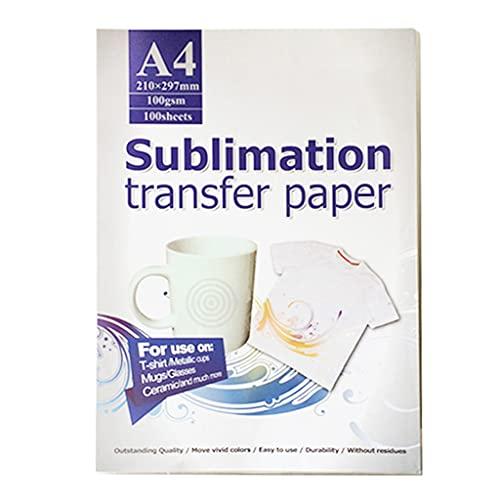 Incdnn Papel de sublimación, papel de transferencia térmica, A4, 100 hojas, compatible con impresoras de inyección de tinta para camisetas, bolsas de vasos, papel de sublimación tamaño A4 8 5 x 14