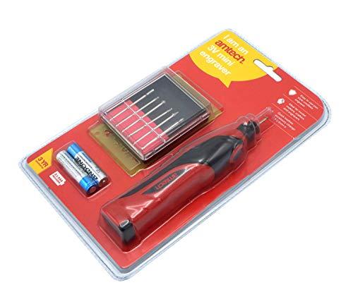 Amtech V2548 Mini Kit, Herramienta inalámbrica, Incluye bolígrafo de Grabado, Plantillas, Rebabas de molienda y baterías