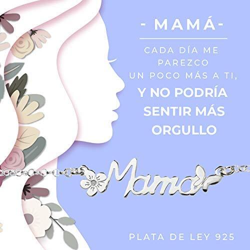 Gargantilla Mamá de Plata de Ley presentada en tarjeta regalo con mensaje