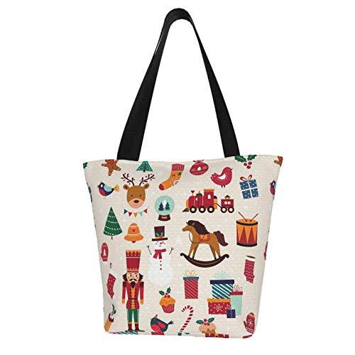 Nussknacker-Cartoon-Weihnachts-Schneemann-Elch-Motiv-bedruckte Damen-Handtasche mit Reißverschluss, Schultertasche, Arbeit, Büchertasche, Handtasche, Freizeit, Hobo-Tasche zum Einkaufen