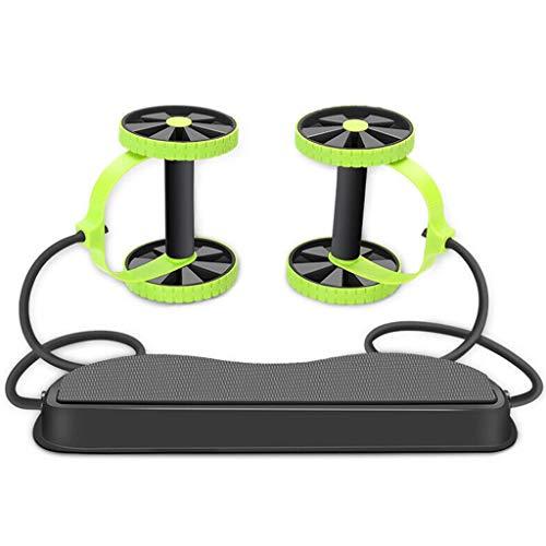 Abdominale Trainers AB Roller, Multifunctionele Oefening Uitrusting Ab Wheel Dubbele Roller met Weerstandsbanden/Kniemat Taille Afslanken Trainer bij Thuis Gym Groen