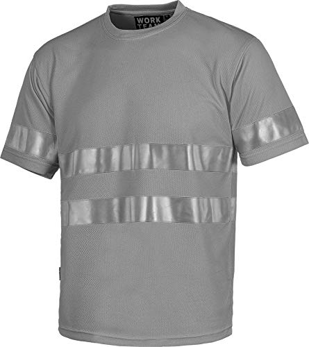 Work Team Camiseta Cuello Caja, Manga Corta, Cintas Reflectantes. Hombre Gris XL