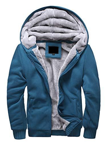 Minetom Herren Winter Warm Vlies Gefüttert Kapuzenpullover Baumwolle Mäntel Weich Jacken Sweatshirts Mit Kapuze Outwear (EU S, Blau)