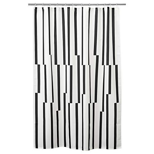 Cortina de ducha KINNEN 180 x 200 cm, blanco/negro