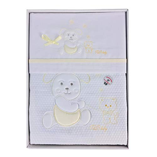 Nada Home 2912 Parure de lit 4 pièces en coton brodé avec couverture Lettino jaune