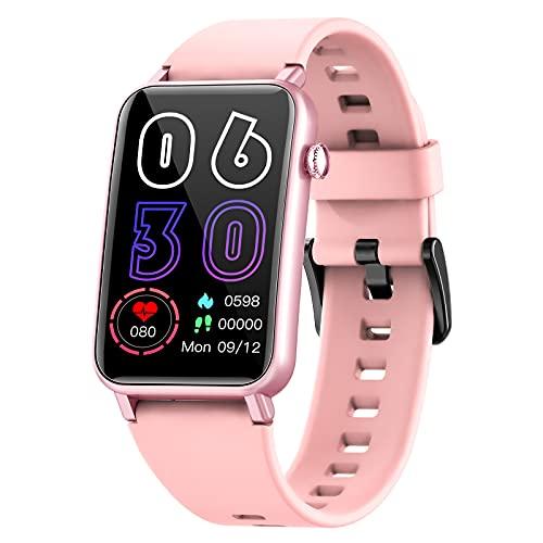NAIXUES Smartwatch Donna, 1.57 Pollici IP68 Orologio Fitness Cardiofrequenzimetro SpO2, Smart Watch Donna Bluetooth con Notifiche Messaggi Activity Tracker Contapassi Calorie per Android iOS (Rosa)