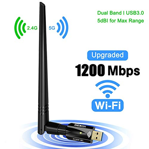 WiFi Dongle 1200Mbps 802.11AC USB WiFi Adapter Dual Band 5GHz/2.4GHz Fast USB3.0 High Gain 5dBi Antenna Computer Network Wireless Adapter for PC Desktop Laptop Tablet Supports Windows Mac and Linux