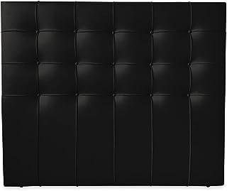 Duérmete Online 190 x 120 cm (Cama de 180) Cabecero Roma con Acolchado Botones | Tapizado en Polipiel de Alta Gama | Medidas, Madera, Negro
