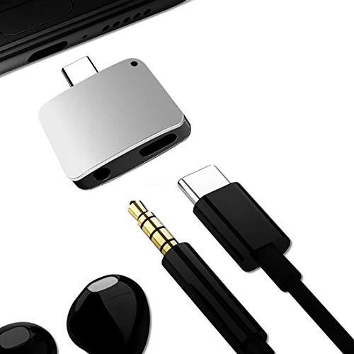 FENSHIX 3 en 1 Cargue/Escucha/Call Type-C Convertidor de Audio, para Galaxy S8 & S8 + / LG G6 / Huawei P10 y P10 Plus/XIAOMI MI 6 & MAX 2 y Otros teléfonos Inteligentes (Negro) Anti-rasguños