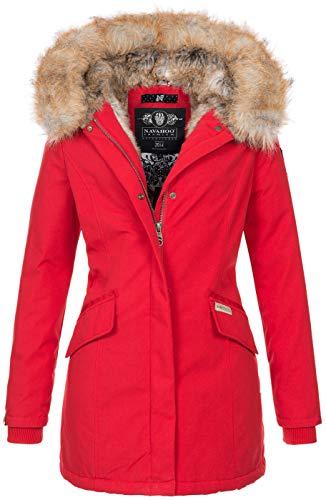 Navahoo Damen Winter Jacke Parka Mantel Winterjacke warm Kunstfell Premium B669 [B669-Christa-Rot-Gr.M]