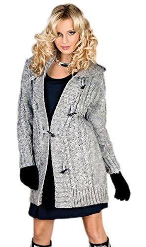 Damen Strick Jacke Mantel Pullover Neu 2 Farben mit Kapuze (S, Grau)