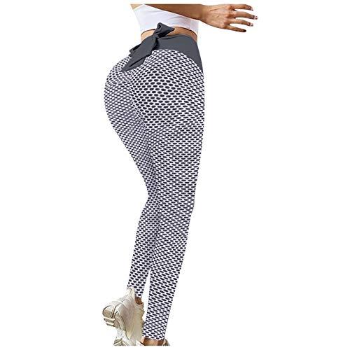 Leggings Deportivos de Costura de Textura de Panal con Bowknot Pantalones de Deporte de Cintura Alta Pantalón de Yoga Mallas de Levante los Cadera Leggins Transpirables Elásticos