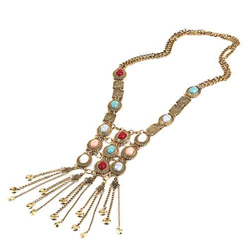 Gouden / zilveren vrouw vintage klassieke folk stijl lange kwast trui collier choker hangers sieraden grote giftgolden