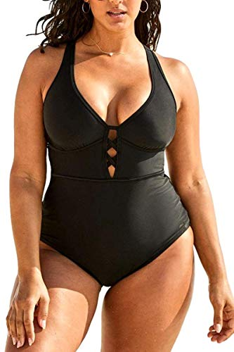 FlatterMe Women's Sexy Plus Size Black One Piece Swimsuit,Plunge Neckline with Lace Up Detail Swimwear A18034, All Black , Large (US 12-14)