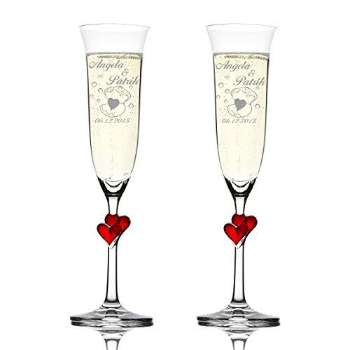 Stölzle lausitz Lot de 2 L 'Amour verres à champagne avec gravure motif – Cœur en Coquille avec Motif bulles