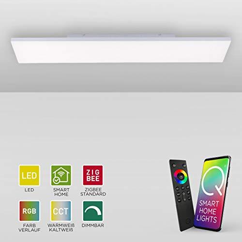 Q-Frameless, rahmenloses LED Panel, 120x30 | Smart-Home Decken-Lampe mit RGB-Farbwechsel | dimmbare Deckenleuchte, Alexa & Phillips HUE kompatibel | warmweiss - kaltweiss Temperatursteuerung …