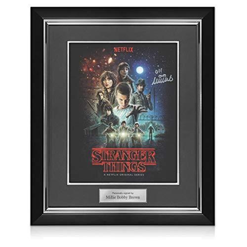 Póster de Stranger Things firmado por Millie Bobby Brown. Marco de lujo