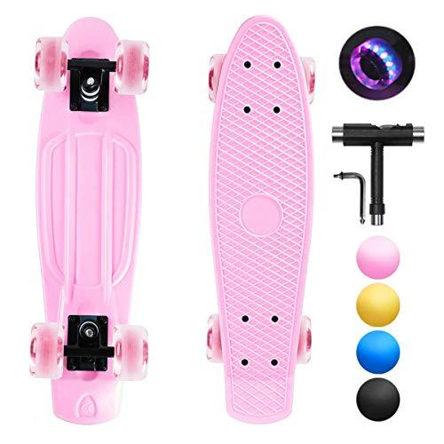 shownicer Skateboard Completo Mini Cruiser Skateboard Penny Board per Bambino Adulto Ragazza Ragazzo Principianti, 22''/57cm con LED Ruote Illuminate & Cuscinetti ABEC-11 & Tutto-in-Uno Strumento T